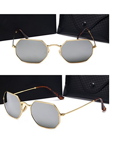 metal de vidrio HD sol de nuevas para Gold Película Lenses hombres poligonales Gafas reflectante de HONGLIGafas sol vintage Frame de Mercury color de nzfq474