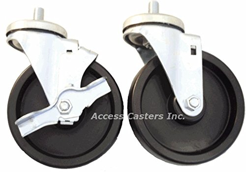 5'' Polyolefin Caster Set of 4 with Brakes for True Refrigeration Units
