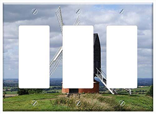 Switch Plate Triple Rocker/GFCI - Windmill Buckinghamshire Wooden Old Cloud Uk (Light Buckinghamshire)