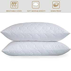 Home Elements Quilted White Goose Feather Standard Pillow (Set of 2)