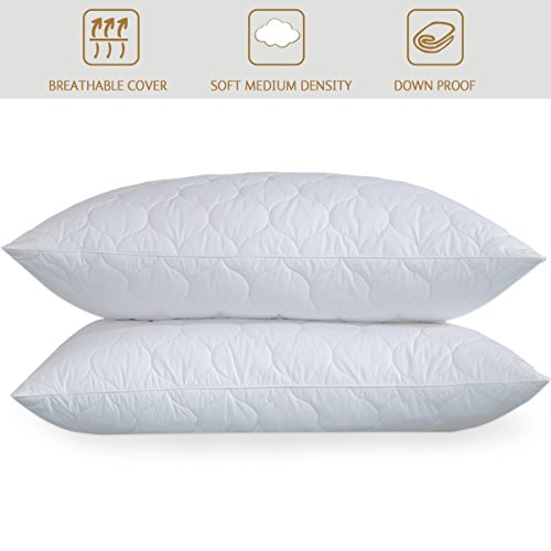 246 Insert - PEACE NEST Goose Feather And Down Pillows, 100% Cotton Cover, Quatrefoil Quilted, King Size (2 pack)