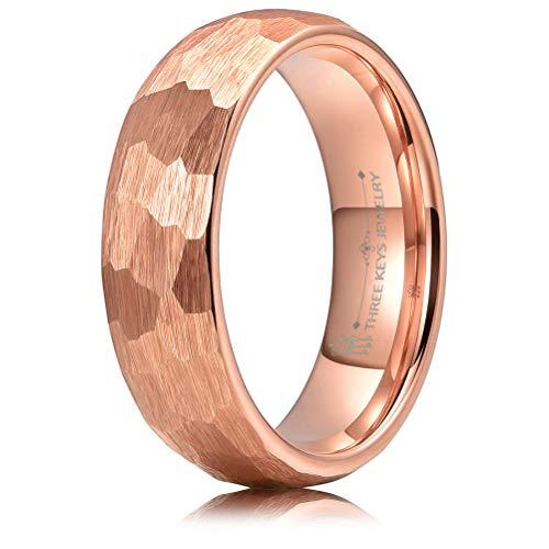 THREE KEYS JEWELRY 6mm Hammered Irregular Diamond-Shaped Brushed Rose Gold Tungsten Wedding Ring Engagement Band Domed Size