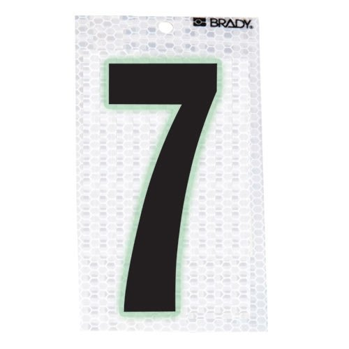 Brady 3020-7, 52314 Glow-In-The-Dark/Ultra Reflective Number - 7, 15 Packs of 10 pcs