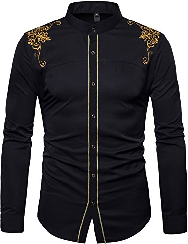(WHATLEES Mens Casual Hipster Mandarin Collar Slim Fit Long Sleeve Dress Shirts with Gold Embroidery T156 Black)