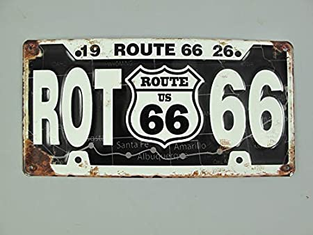 Linoows G3853: Nostalgia Cartel de Pared Ruta 66 1926 Negro ...