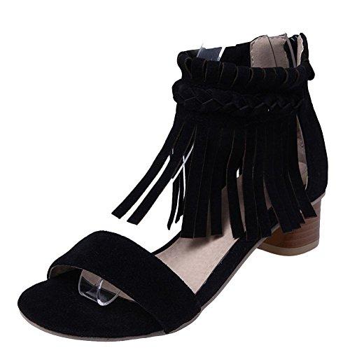 Mee Shoes Women's Charm Block Heel Tassel Sandals Black teHbEUt