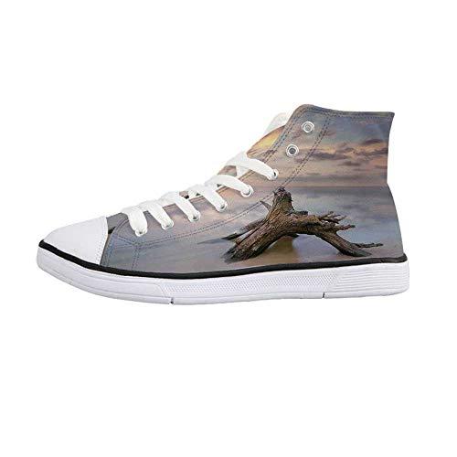 Driftwood Decor Stylish High Top Canvas Shoes,Sunrise on The Water and Driftwood on The Sandy Beach Digital Image for Men & Boys,US 8