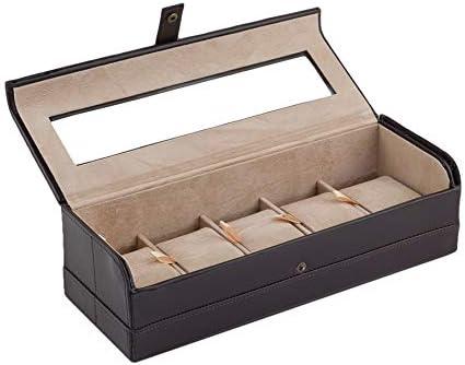 CORDAYS Estuche Relojero Artesano - Caja para 5 Relojes Caballero - Vitrina de Cristal y Cierre Seguro Botón. Hecha a Mano en Piel sintética Color Marrón CDM-00105: Amazon.es: Hogar