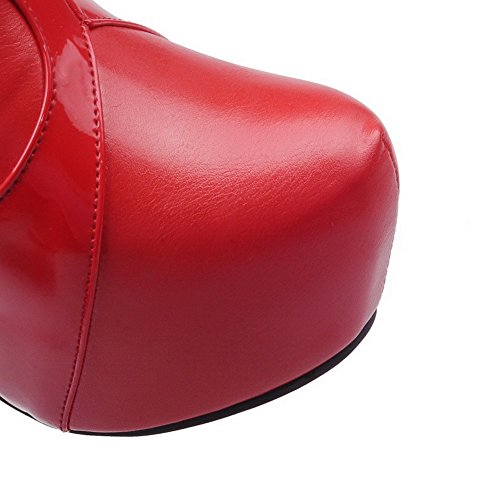 AllhqFashion Mujeres Cremallera Puntera Cerrada Redonda Tacón ancho Caña Baja Botas con Metal Rojo
