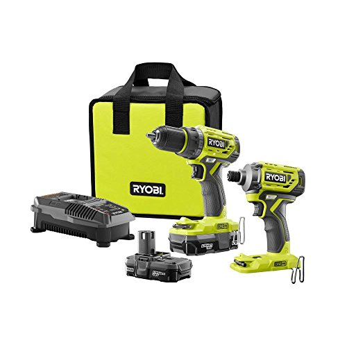 Kits 1 18v Tool (Ryobi 18-Volt ONE+ Lithium-Ion Cordless Brushless Drill/Driver-Impact Driver 2-Tool Kit w/(2) 1.3 Ah Batteries, Charger,)