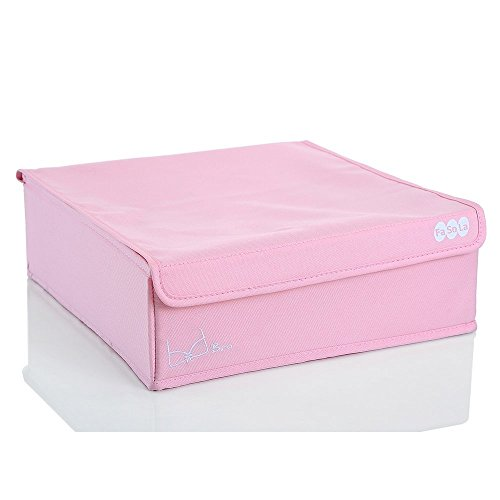 FaSoLa Foldable Underware Storage Box With Cover Pink 16 cells