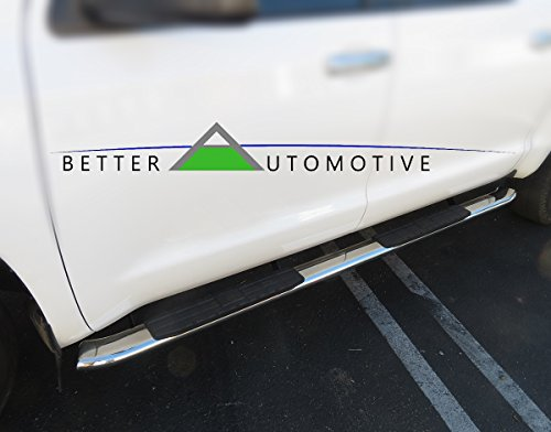"""BETTER AUTOMOTIVE B4A0M-33108 2007-2017 Toyota Tundra Double Cab 4"""" PNC Oval Sidebars All S/S Stainless Steel Running Boards Side Step Nerf Bars"""
