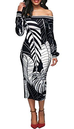 Beauty Collector Floral Print Women Cocktail Dress Off Shoulder Black Slim Midi Bodycon Dresses - Floral Collector