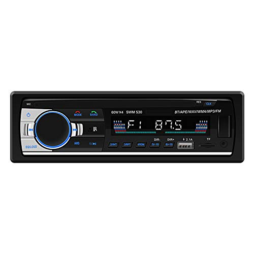 SARCCH Multimedia Car Stereo – Single Din LCD, Bluetooth Audio and Calling, Built-in Microphone, MP3 Player, WMA, USB, Auxiliary Input, AM/FM Radio Receiver, Wireless Remote Control