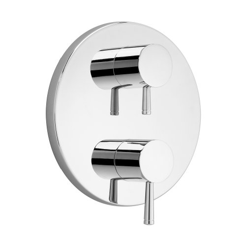 American Standard T064740.002 Serin Two Handle Thermostat Trim Kit with Separate Volume Control, Metal Knob Handles, Polished Chrome