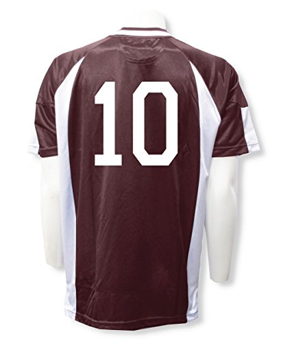 Short Sleeve Soccer Goalkeeper Jersey with number (with free keeper pin) - size Adult XL - color Maroon/White ()