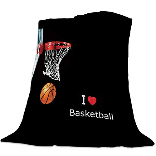 Basketball Fleece Blanket - Cozy Warm Lightweight Microfiber Throw Blankets,Soft Reversible Flannel Fleece Bed Throw Basketball Box I Love Basketball,Luxury Fuzzy Blankets for Adults/Girls/Kids/Boys/Dogs/Couch,39''W x 49''L