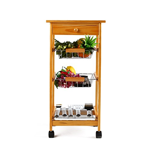 Homfa 4-Tiers Pinewood Kitchen Trolley Ceramic ...