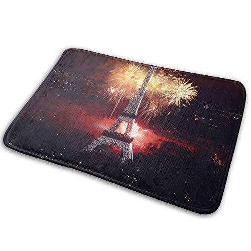 Baerg Non-Slip Stain Fade Resistant Door Mat Eiffel Tower Fireworks Living Room Rug Carpet 15.7