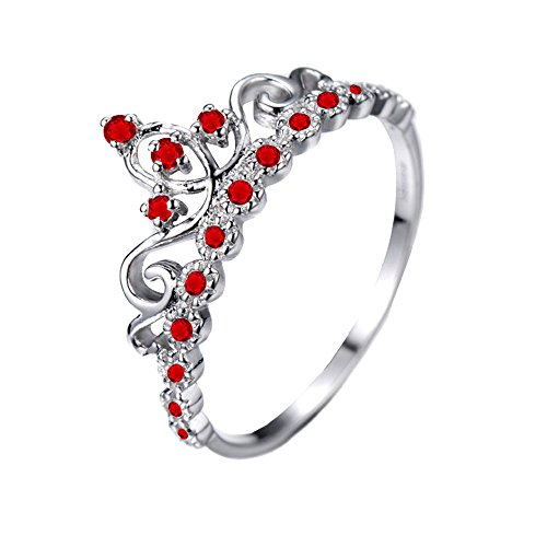 d Princess Crown with Ruby Birthstone Ring (July) (14k White Gold Crown)