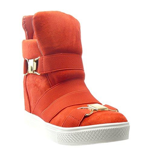 Angkorly - Zapatillas de Moda Deportivos Plataforma zapatillas de plataforma mujer tanga Hebilla Talón Plataforma 7.5 CM - Rojo