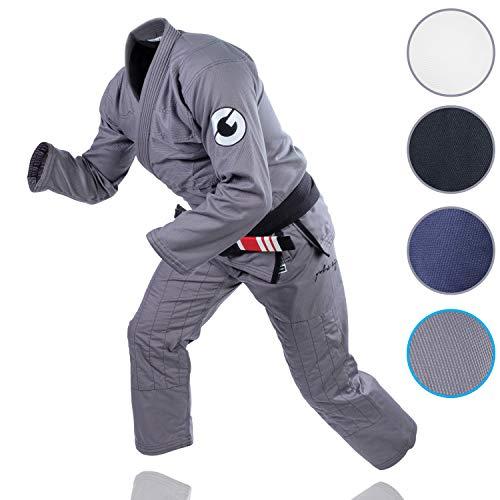 (Gold BJJ Jiu Jitsu Gi - Ultra Lightweight Men's Aeroweave - Preshrunk Brazilian Jiu Jitsu Uniform for Men (Grey, A3) )