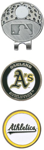 (Team Golf MLB Oakland Athletics Golf Cap Clip with 2 Removable Double-Sided Enamel Magnetic Ball Markers, Attaches Easily to Hats )