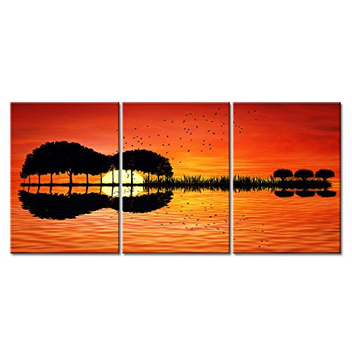 Music Orange Wall Art Guitar Abstract Canvas Prints Art Home Decor for Living Room Modern Black and Red Pictures 3 Panel Large Posters Printed Painting Framed Ready to Hang (12