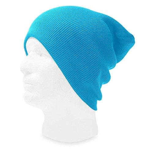 AStorePlus Unisex Lightweight Solid Color Sky Blue Knitted Cuff Beanie Hat - Sky Blue Lightweight Hat