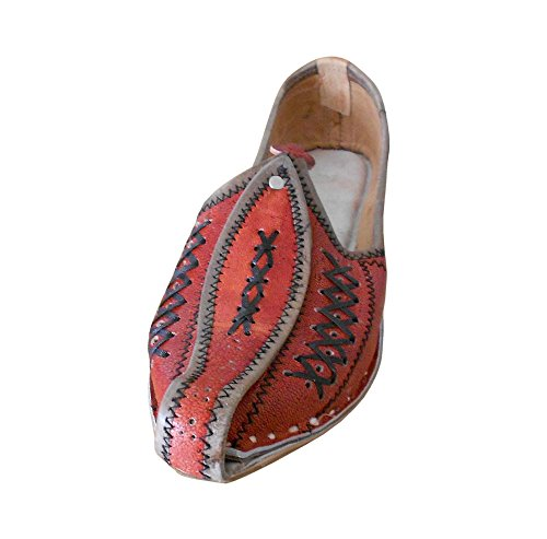 Kalra Creations Men's Traditional Leather Indian Casual Shoes Orange