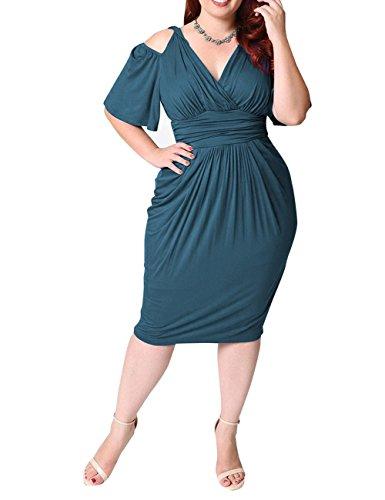 Dasior Taille Plus Sexy Des Femmes V-cou Épaule Froid Manches Courtes Robe Crayon Froncé Vert