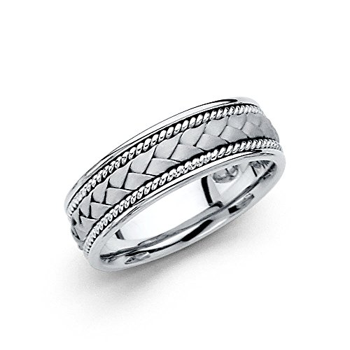 Wedding Ring Solid 14k White Gold Band Rope Braided Design Comfort Fit Satin Style Men Women 6 mm Size 9.5 White Gold Braided Wedding Band