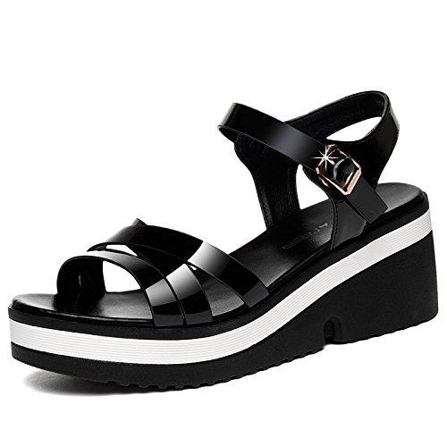 RUGAI-UE Impermeabilización de zapatos de mujer,tacones altos y sandalias de mujer de moda black