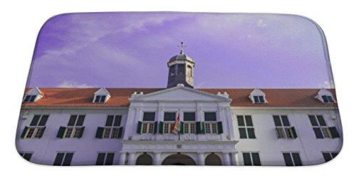 Gear New Bath Rug Mat No Slip Skid Microfiber Soft Plush Absorbent Memory Foam, Cultural Heritage Of Old Jakarta, 34x21 Batavia Bath