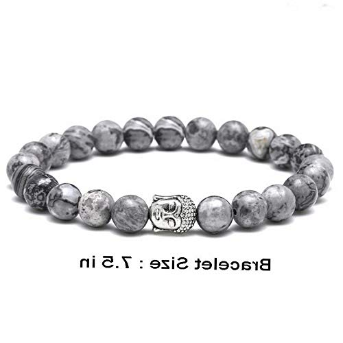 (Mikash Charm Mens Gray Striped Stone Beads Buddha Bracelet Bangle Yoga Reiki Prayer | Model BRCLT - 10202 | 7.5 in)