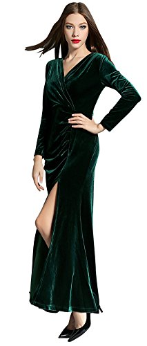 Slit Retro Formal Gown Women's Side Green Evening Long 90s Ababalaya Bodycon Velvet xw0nF86Eq
