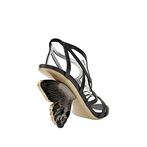 Alberto Guardiani Svart / Grå Skinnslingback Sandal På Butterfly Formet Hæl Svart / Grå