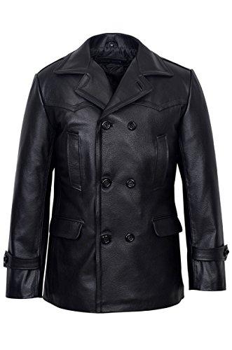 Smart Range Men's Kriegsmarine German Ww2 Uboat Reefer Genuine Hide Leather Jacket Coat X-Large Black