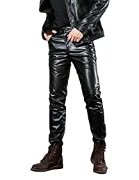 Idopy Men`s Black Slim Fit Soft PU Faux Leather Biker Pants