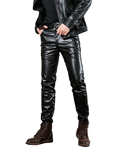 Idopy Men`s Black Slim Fit Soft PU Faux Leather Biker Pants 36 2# -