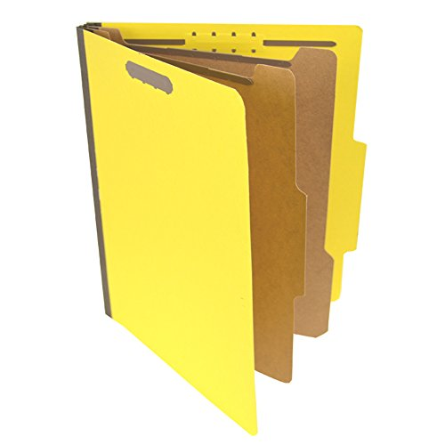 - Pressboard Classification Partition Folder, 2 Dividers, 2-Inch Expansion, 2/5 Cut Tab, Yellow, Letter Size, Box of 15