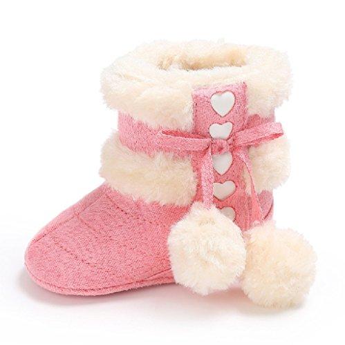 Auxma Für 0-18 Monate Baby Schuhe Baby-Winter-warme erste gehende Schuhe weiche Sole-Schnee-Aufladungen weiche Krippe-Schuhe Kleinkind-Aufladungen (0-6 M, Beige) Rot