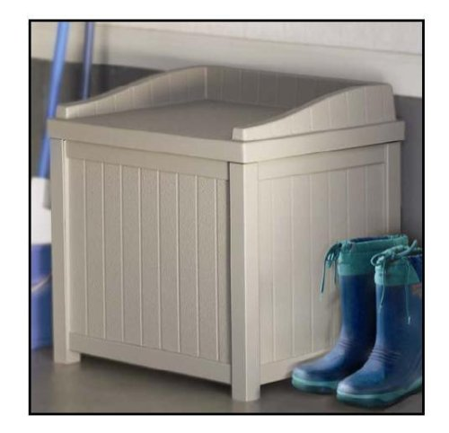 Suncast Resin Winter Storage Seat Contemporary Bin Stores Ice Melt, Sand, Salt and Snow De-Icers, Taupe
