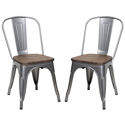 Amazon Dining Chairs: Amazon.com: Metal Stackable Dining Chair With Wood Seat