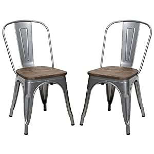 VIVA HOME Metal Stackable Dining Chair with Wood Seat, Indoor/Outdoor Chair, Set of 2, Silver and Black