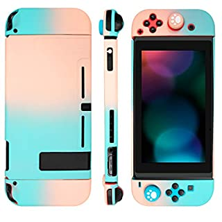 Niclogi Dockable Case for Nintendo Switch, Protective Cover Case Compatible with Nintendo Switch Console and Joy-Con Controller, Separable Hard Cover Case with 2 Thumb Grip Caps(Cyan and Pink)