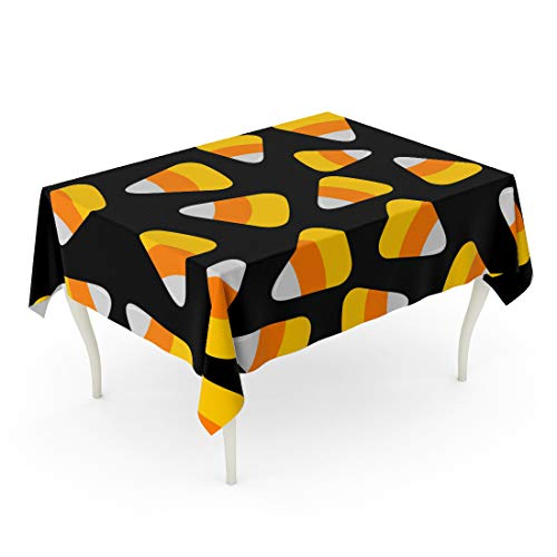 Tinmun Waterproof Tablecloth 52 x 70 Inches Orange Pattern Candy Corn Happy Halloween Flat Yellow Big Decorative Rectangular Tabletop Cover for Outdoor Indoor Use]()