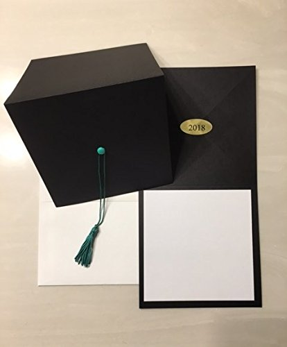 image regarding Printable Graduation Announcements identify 2019 - Black cap commencement invitation-environmentally friendly tel-blank printable increase-25 depend with envleopes (other hues offered at our amazon storefront)