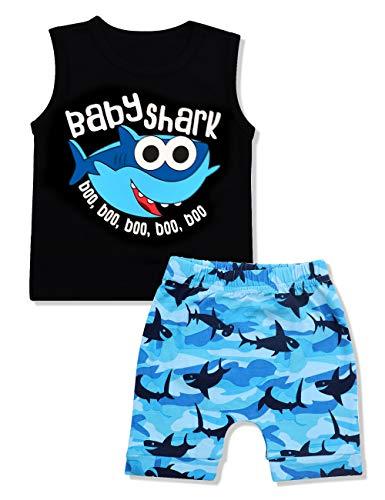 Baby Boy Clothes Baby Shark Doo Doo Doo Print Summer Cotton Sleeveless Outfits Set Tops + Short Pants 12-18 Months
