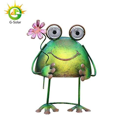 GDF Solar Metal Art Outdoor Patio Decorative,Christmas Lights,Animal Garden Decor,LED Lawn Metal Decorative,Frog Statue,Halloween Light,Christmas Yard Decoration
